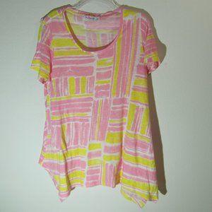 NWOT Sun Bay Petite Pink Yellow Tee PL